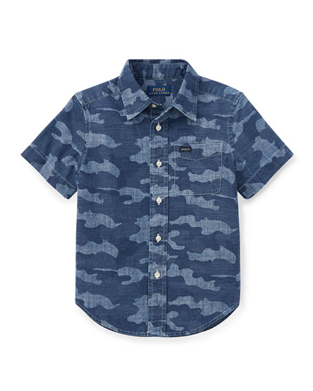 Short-Sleeve Button-Down Camo Shirt, Size 5-7