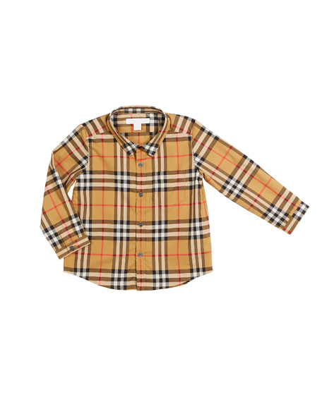 Fred Long-Sleeve Check Shirt, Size 6M-3