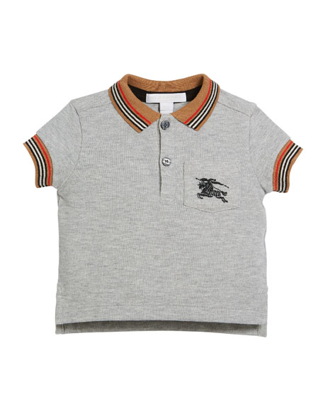 Burberry Noel Striped-Trim Logo Pocket Polo, Size 6M-3