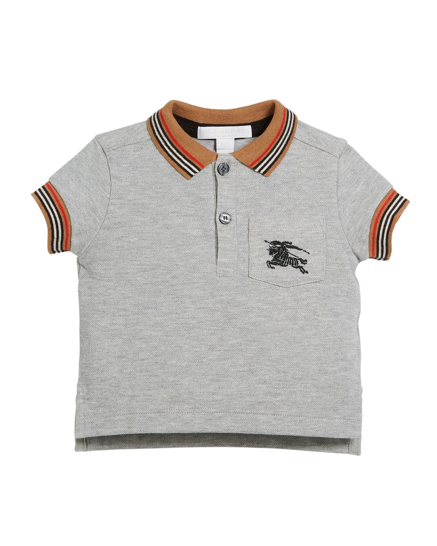 442e9d85f176 Burberry Noel Striped-Trim Logo Pocket Polo