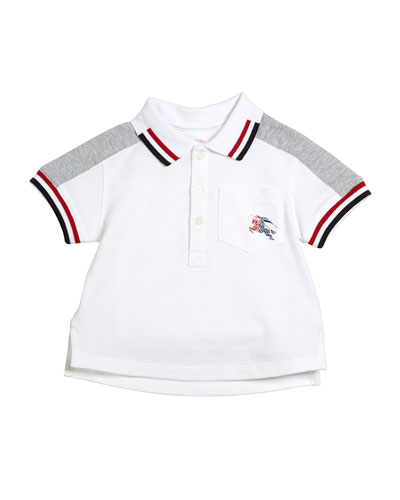 Tai Two-Tone Striped-Trim Short-Sleeve Polo, Size 6M-3