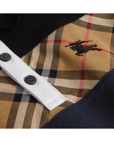 Jeff Short-Sleeve Center Check Polo Shirt, Blue, Size 4-14