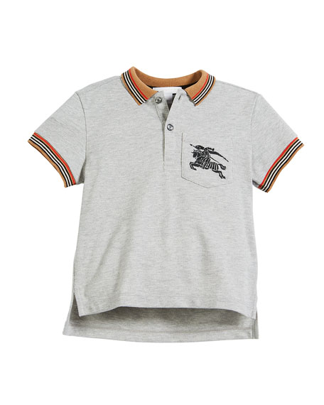 Burberry Noel Striped-Trim Logo Pocket Polo, Size 4-14