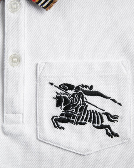 Noel Striped-Trim Logo Pocket Polo, Size 4-14