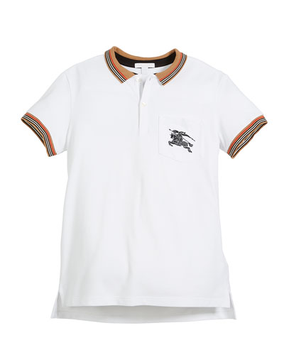 Noel Striped-Trim Logo Pocket Polo  Size 4-14