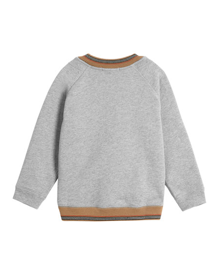 Hector Melange Logo Sweatshirt w/ Striped Trim, Size 4-14