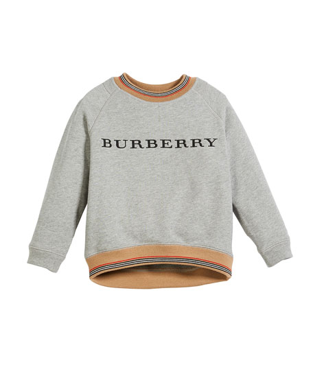 Burberry Hector Melange Logo Sweatshirt w/ Striped Trim,