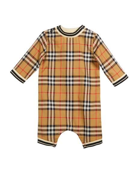 Burberry Michael Check Striped-Trim Coverall, Size 3-18 Months