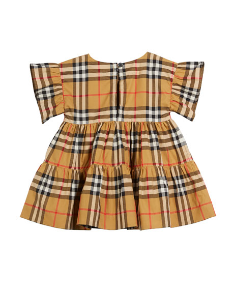 Alima Ruffle Check Dress w/ Bloomers, Size 3-18 Months