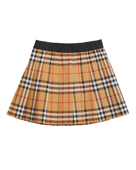 Burberry Pansie Pleated Check Skirt, Size 4-14