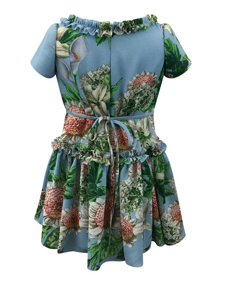 Floral Ruffle-Trim Short-Sleeve Dress, Size 7-14
