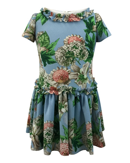 Helena Floral Ruffle-Trim Short-Sleeve Dress, Size 7-14
