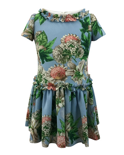 Floral Ruffle-Trim Short-Sleeve Dress, Size 2-6