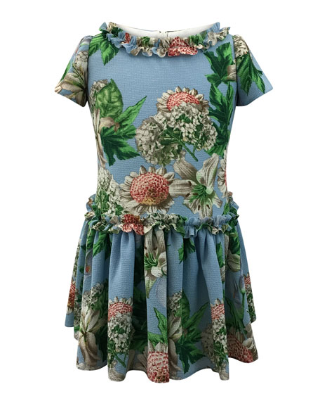Helena Floral Ruffle-Trim Short-Sleeve Dress, Size 2-6