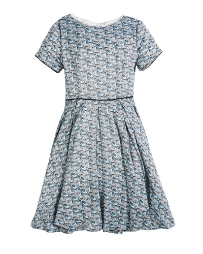 Short-Sleeve Printed Dress, Size 7-14