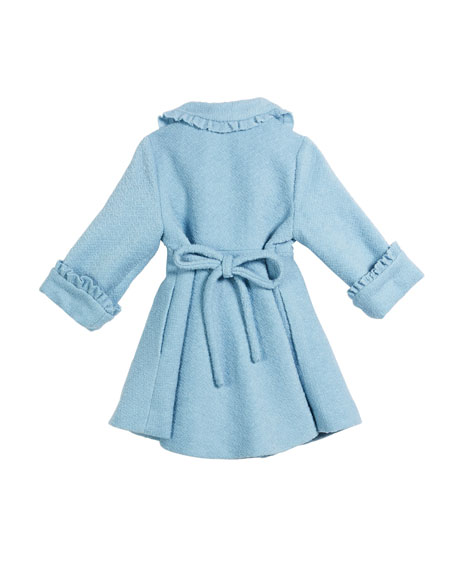 Lambs Wool-Blend Ruffle-Trim Coat, Size 2-6