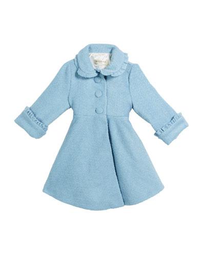 Lambs Wool-Blend Ruffle-Trim Coat, Size 2-6