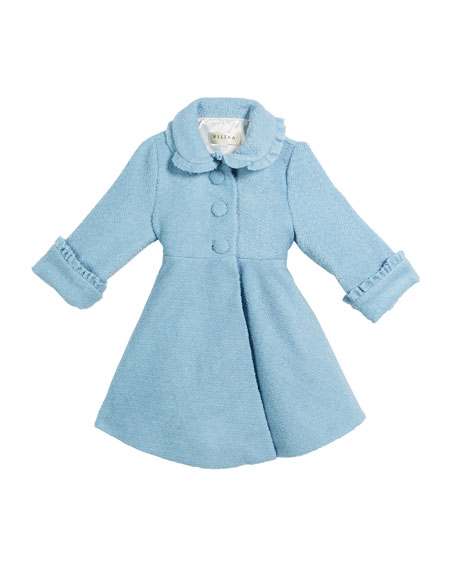 Helena Lambs Wool-Blend Ruffle-Trim Coat, Size 2-6