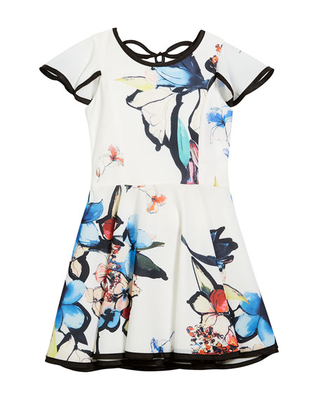 Abstract Floral Flutter-Sleeve Swing Dress, Size 7-16
