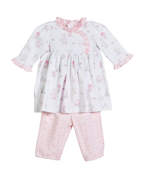 Kissy Kissy Parisian Stroll Printed Dress Set, Size