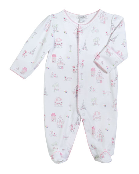 Kissy Kissy Parisian Stroll Printed Pima Footie Playsuit,