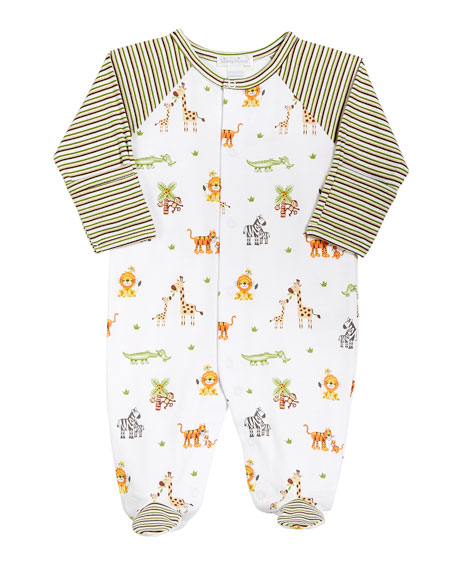 Jolly Jungle Printed Footie Playsuit, Size Newborn-9M