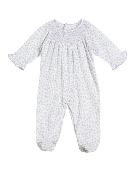Kissy Kissy Rambling Roses Smocked Footie Playsuit, Size