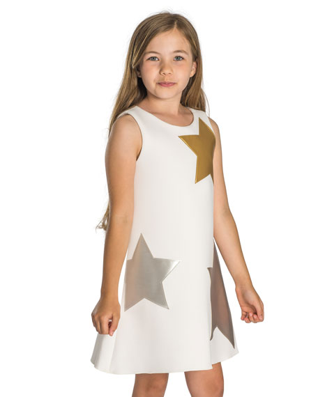 Starlet Neoprene Knit Dress w/ Metallic Stars, Size 4-6X