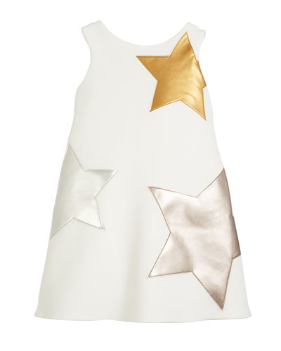 Starlet Neoprene Knit Dress w/ Metallic Stars, Size 4-6X