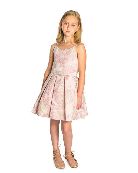Vintage Metallic Burnout Brocade Dress w/ Jeweled Straps, Size 2-6X
