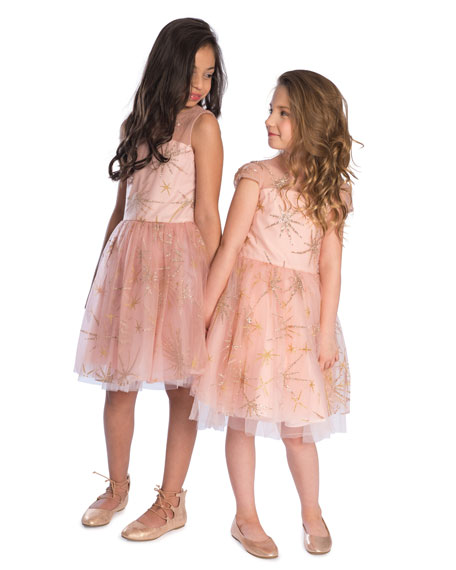 Sunrise Glitter Star Tulle Party Dress, Size 2-6X