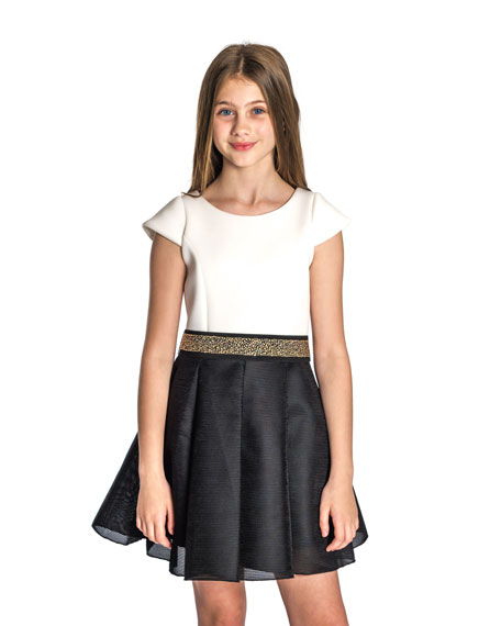 Caitlin Colorblock 8-Panel Swing Dress w/ Jeweled Belt, Size 4-6X