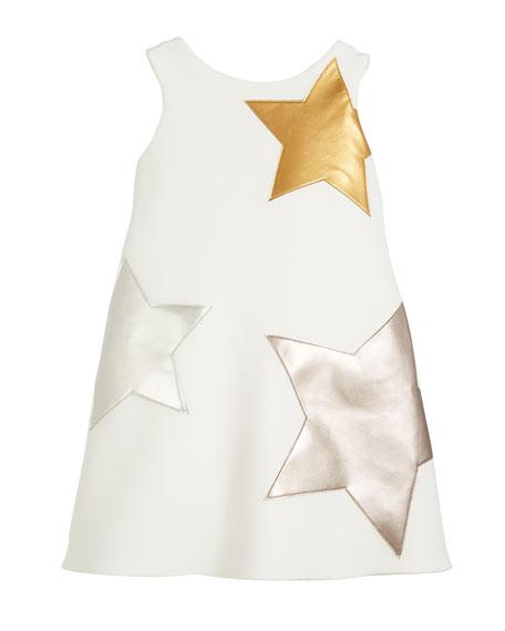 Starlet Neoprene Knit Dress w/ Metallic Stars, Size 7-16