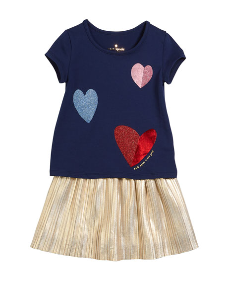 tossed hearts t-shirt w/ metallic skirt set, size 2-6x