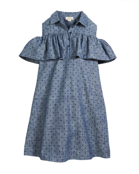 kate spade new york cold-shoulder ruffle chambray dress,