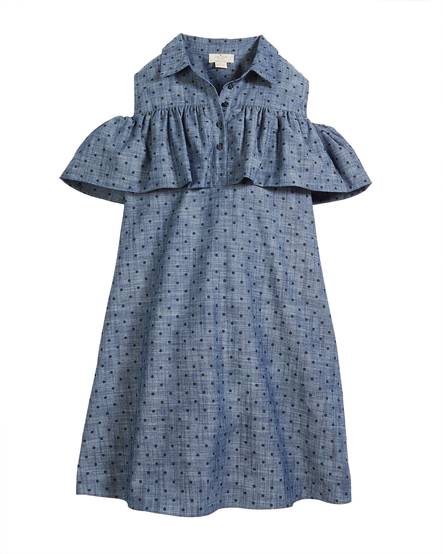 fdb665b7426406 kate spade new york cold-shoulder ruffle chambray dress, size 7-14 ...