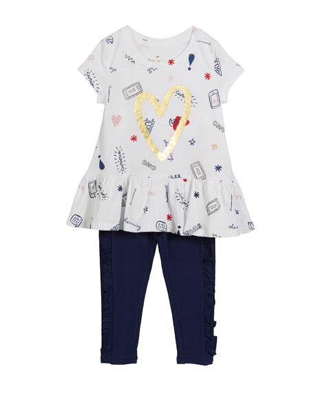 doodle-print top w/ matching leggings, size 2-6x