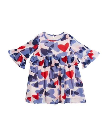 Image 1 of 2: confetti heart long-sleeve dress, size 2-6x