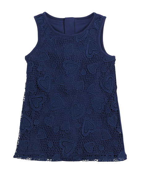 sleeveless heart lace dress, size 7-14