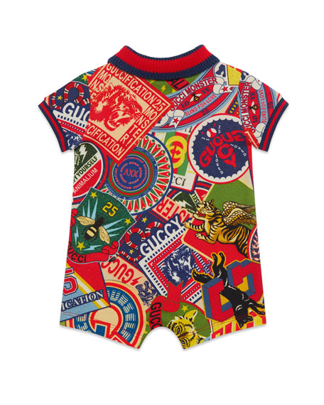 Gucci Logo Sticker Print Shortall w/ Web Knit Trim, Size 6-24 Months