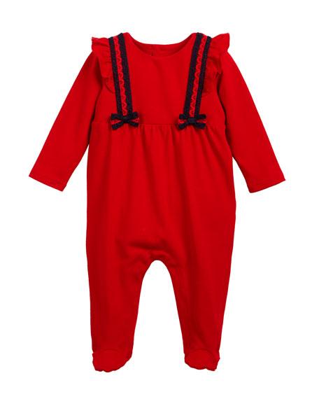 Gucci Lace Web-Trim Footie Pajamas, Size 0-9 Months