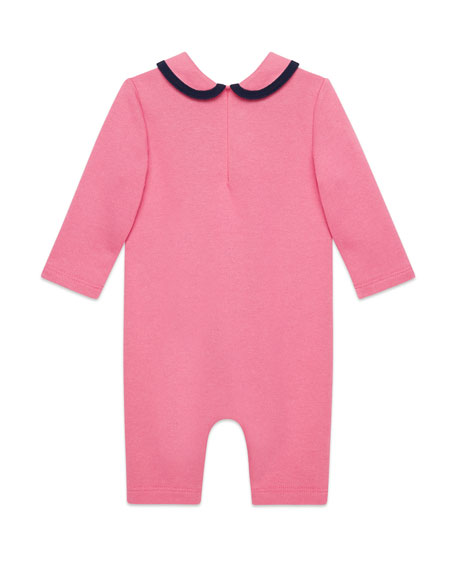 Peter Pan-Collar Coverall w/ Web Bow, Size 3-24 Months