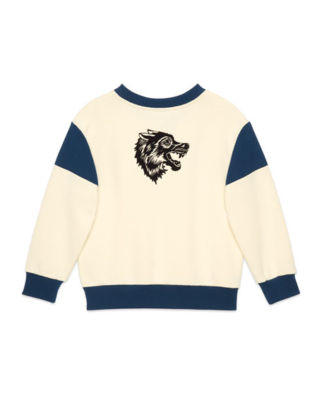 Two-Tone Gucci Wolves Pullover Sweatshirt, Size 4-12