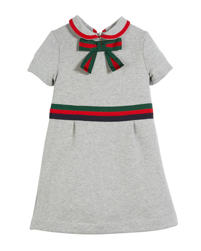 Web-Trim Bow Felted Cotton Jersey Dress, Size 4-12