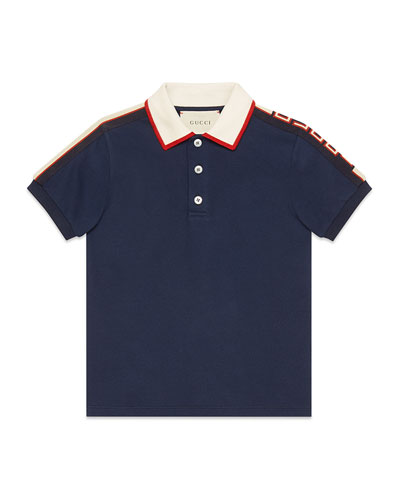Stretch Cotton Piquet Polo w/ Logo Sleeves, Size 4-12