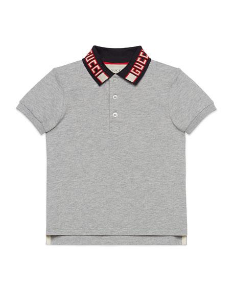 Short-Sleeve Polo w/ Knit Logo Collar, Size 4-12