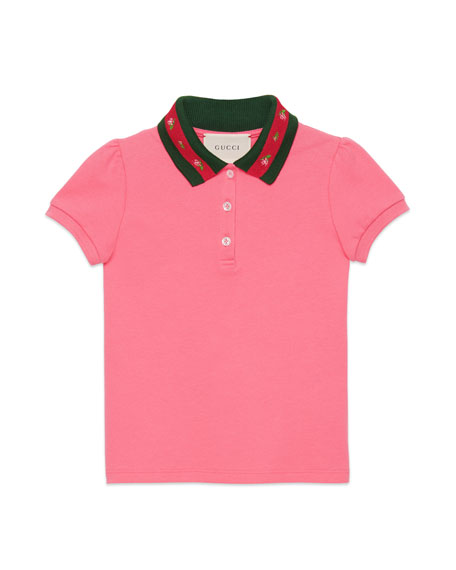 Short-Sleeve Web-Collar Polo w/ Rose Embroidery, Size 4-12