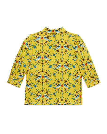 Love Birds-Print Long-Sleeve Blouse, Size 4-12