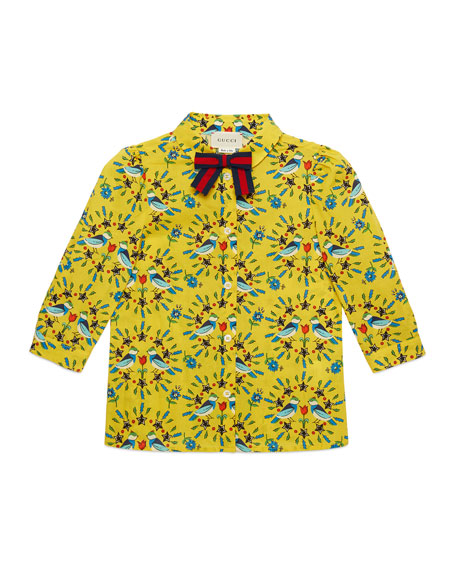 Gucci Love Birds-Print Long-Sleeve Blouse, Size 4-12