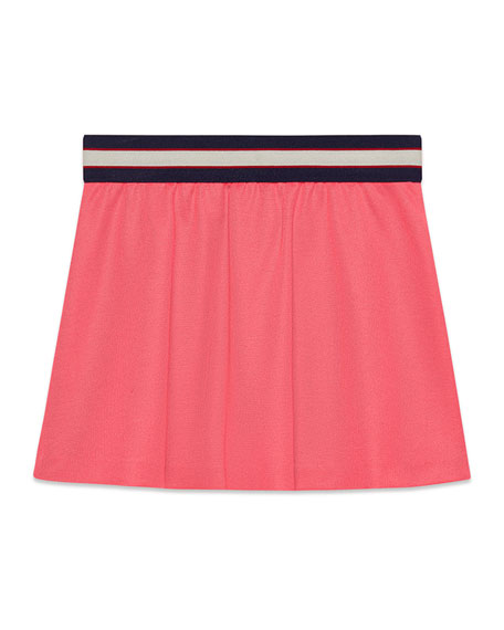 Pleated Jersey Skirt w/ Logo Waistband, Size 4-12